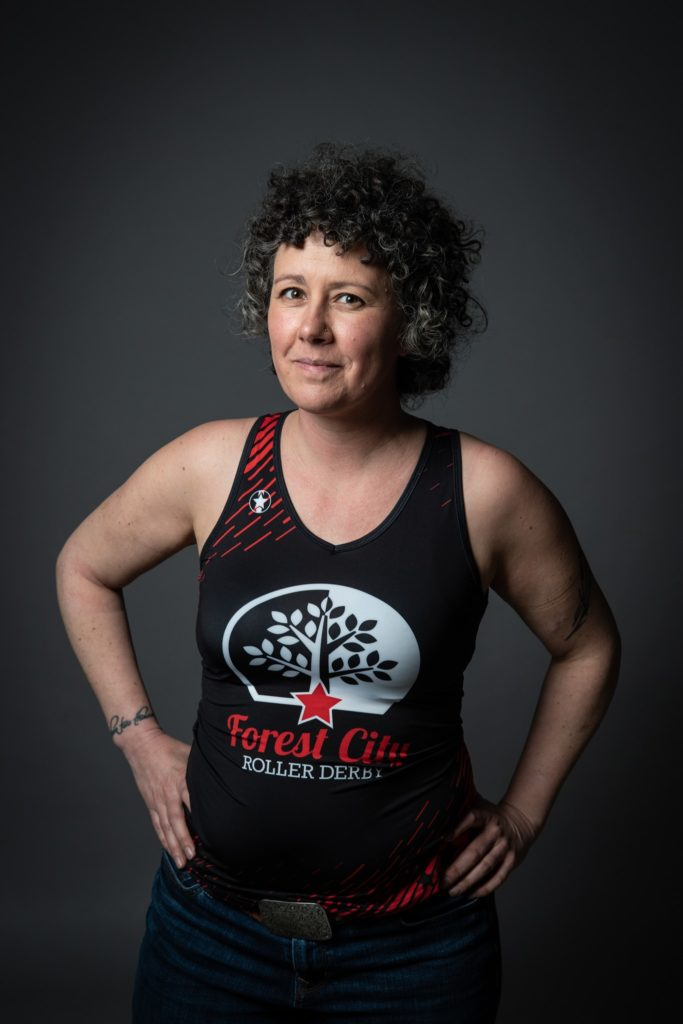 Me in my Forest City Roller Derby jersey trying to look tough