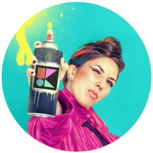 kira hug, a white woman holding a can of spray paint toward the camera